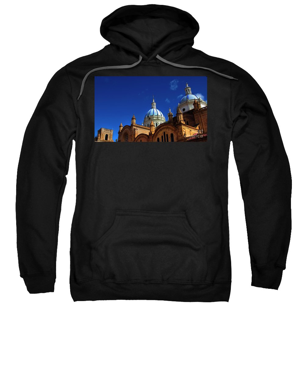 Immaculate Conception Sweatshirt featuring the photograph The Blue Domes Of Cuenca, Ecuador by Al Bourassa