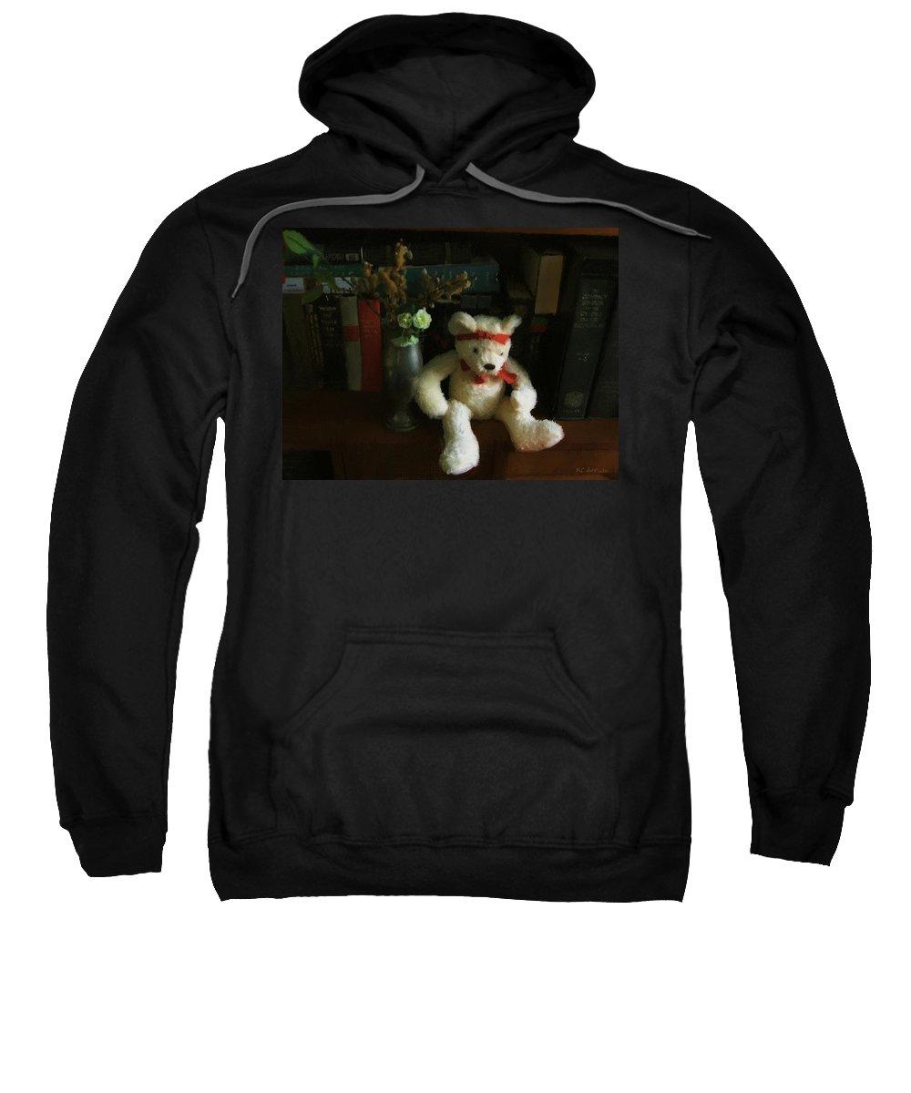 Bear Sweatshirt featuring the digital art The Book Bear by RC DeWinter