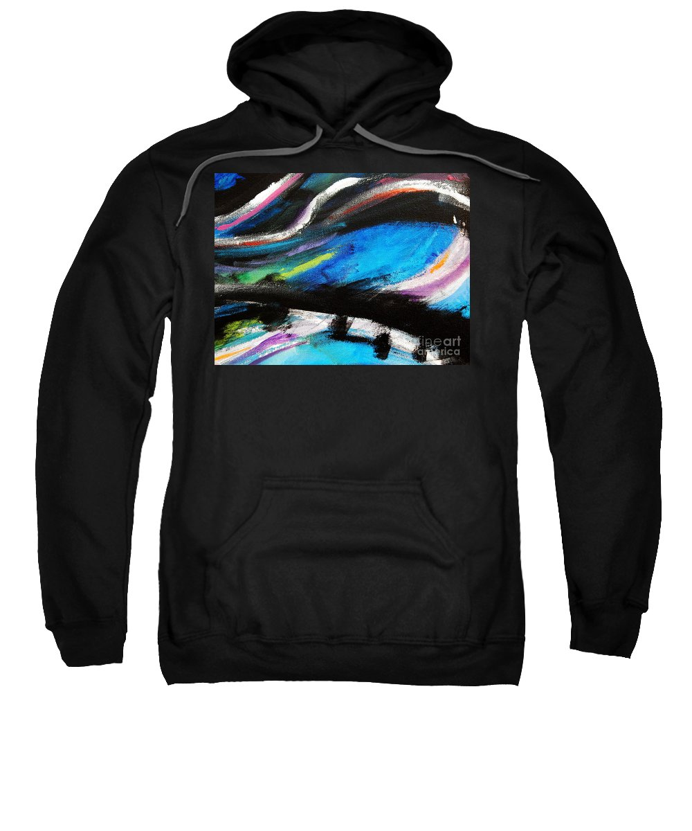 Swirling Lunging Colors Sweatshirt featuring the digital art The Bridge by Expressionistart studio Priscilla Batzell