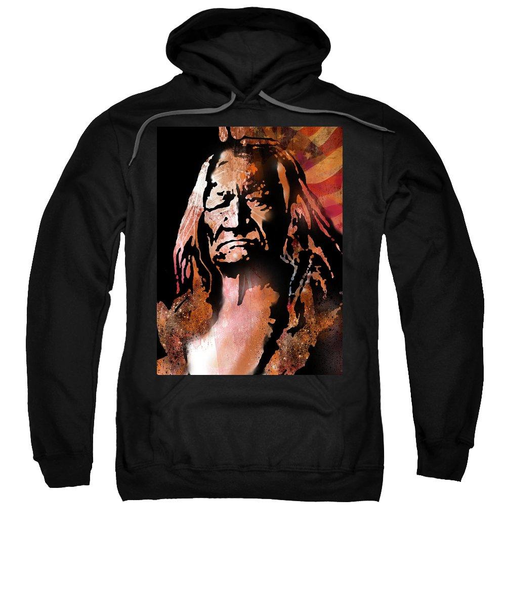 Native Americans Sweatshirt featuring the painting The Buffalo Hunter by Paul Sachtleben
