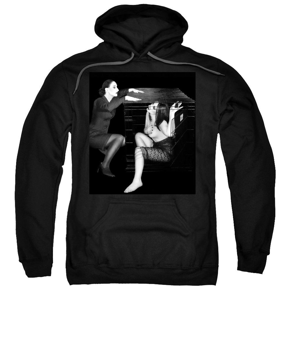 Art Sweatshirt featuring the photograph The Cage 2 - Self Portrait by Jaeda DeWalt