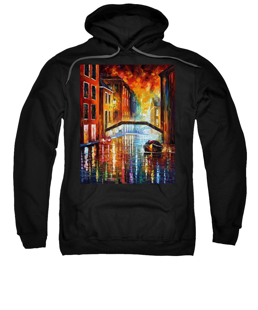 Afremov Sweatshirt featuring the painting The Canals Of Venice by Leonid Afremov