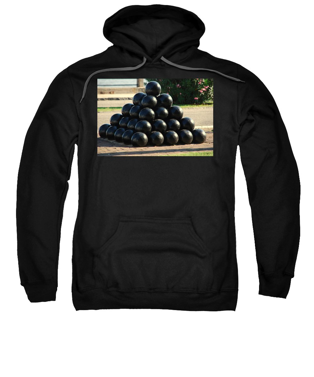 Cannon Balls Sweatshirt featuring the photograph The Cannonballs At The Battery In Charleston Sc by Susanne Van Hulst