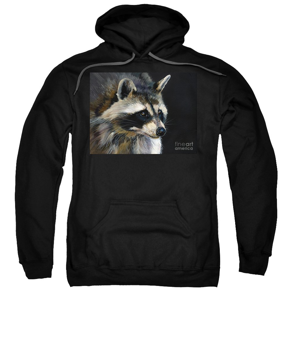 Indigenous Wildlife Sweatshirt featuring the painting The Cat Food Bandit by J W Baker
