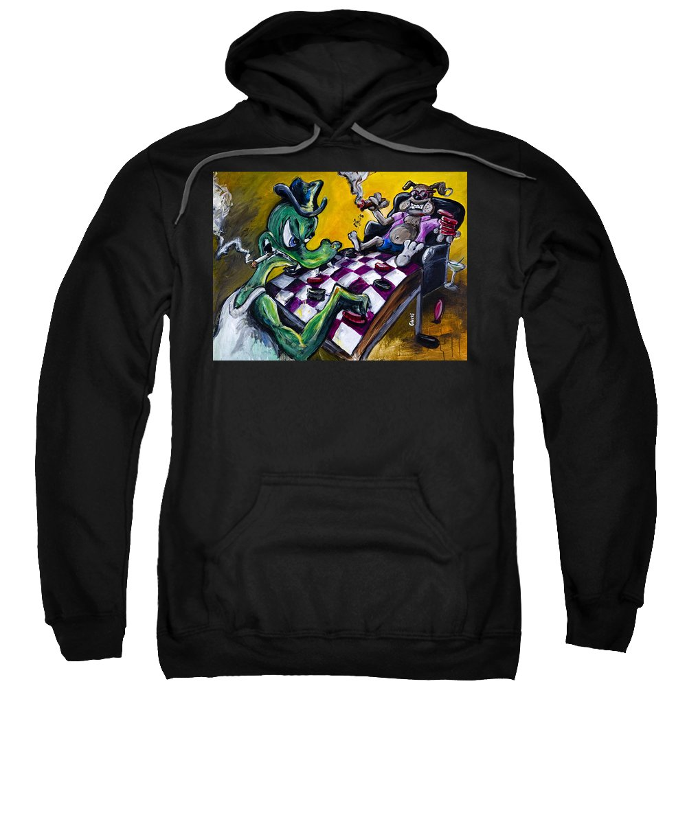 Checkers Sweatshirt featuring the painting The Checker Game by Jason Gluskin