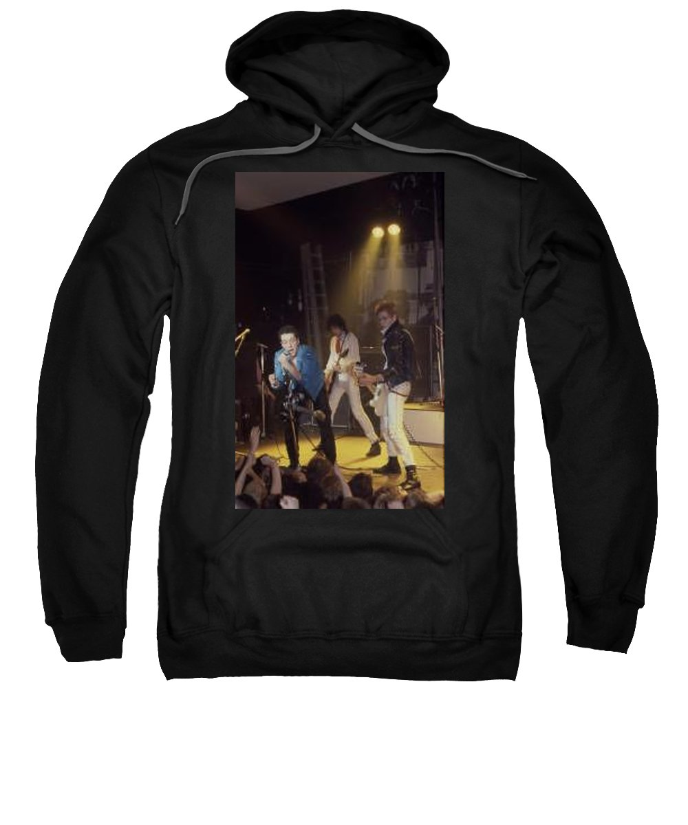 The Clash-london 1978 Photo By Dawn Wirth-copyrighted Sweatshirt featuring the photograph The Clash-London - July 1978 by Dawn Wirth