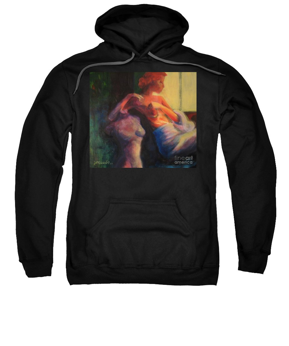 Bright Sweatshirt featuring the painting The Confidante by Jason Reinhardt