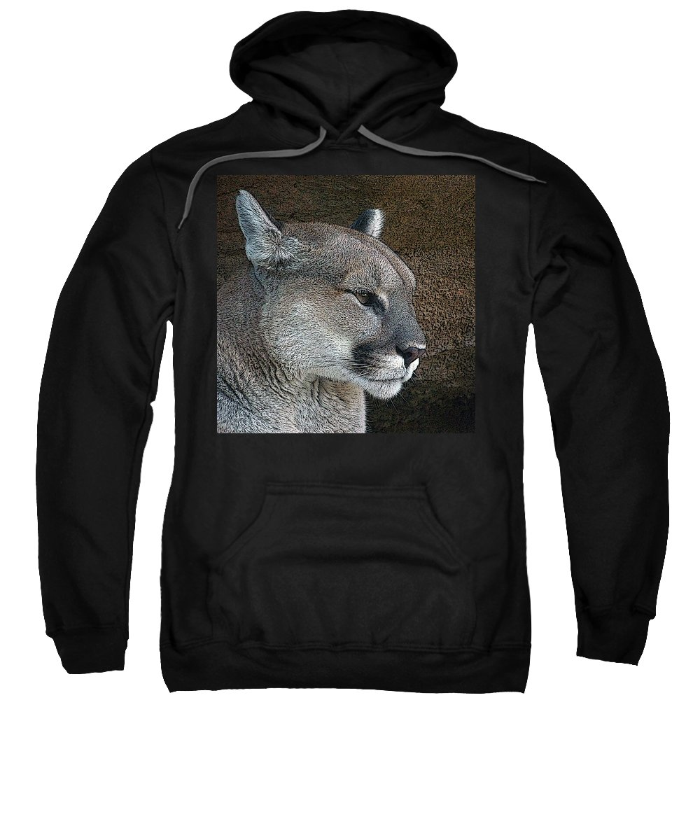 Mountain Lion Sweatshirt featuring the photograph The Cougar by Ernie Echols