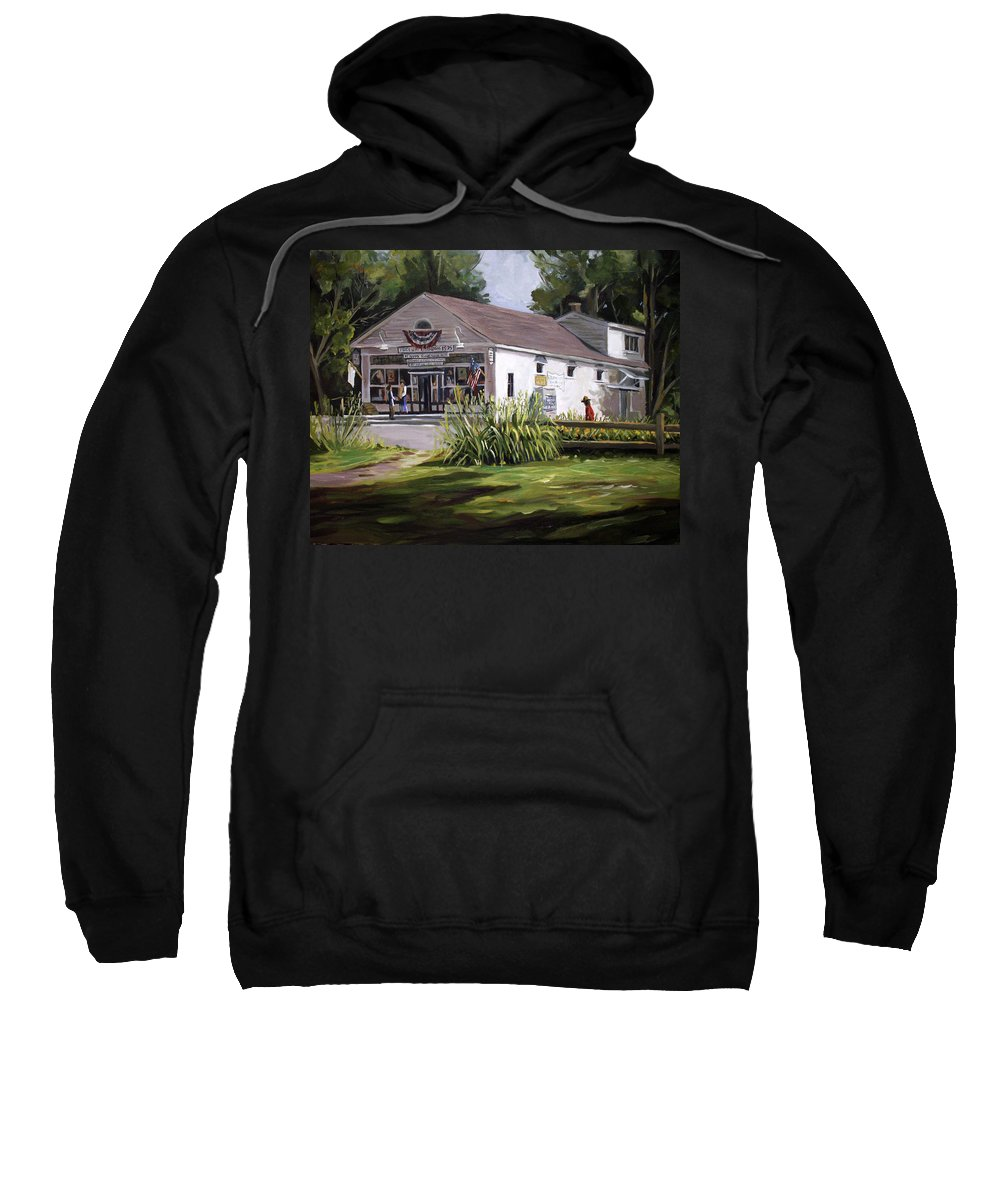 Buildings Sweatshirt featuring the painting The Country Store by Nancy Griswold