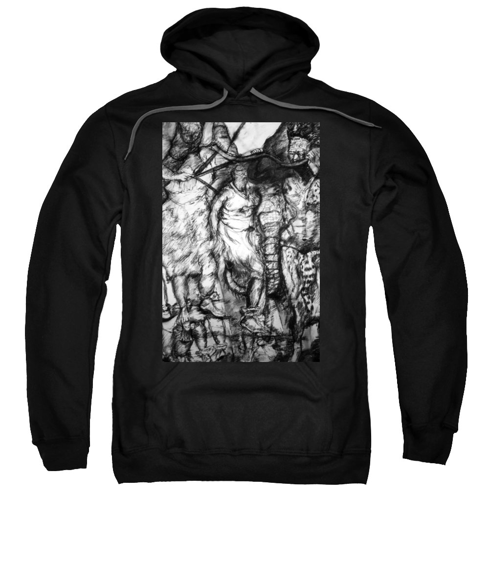 African Art Sweatshirt featuring the drawing The Dance by Arlene Rabinowitz