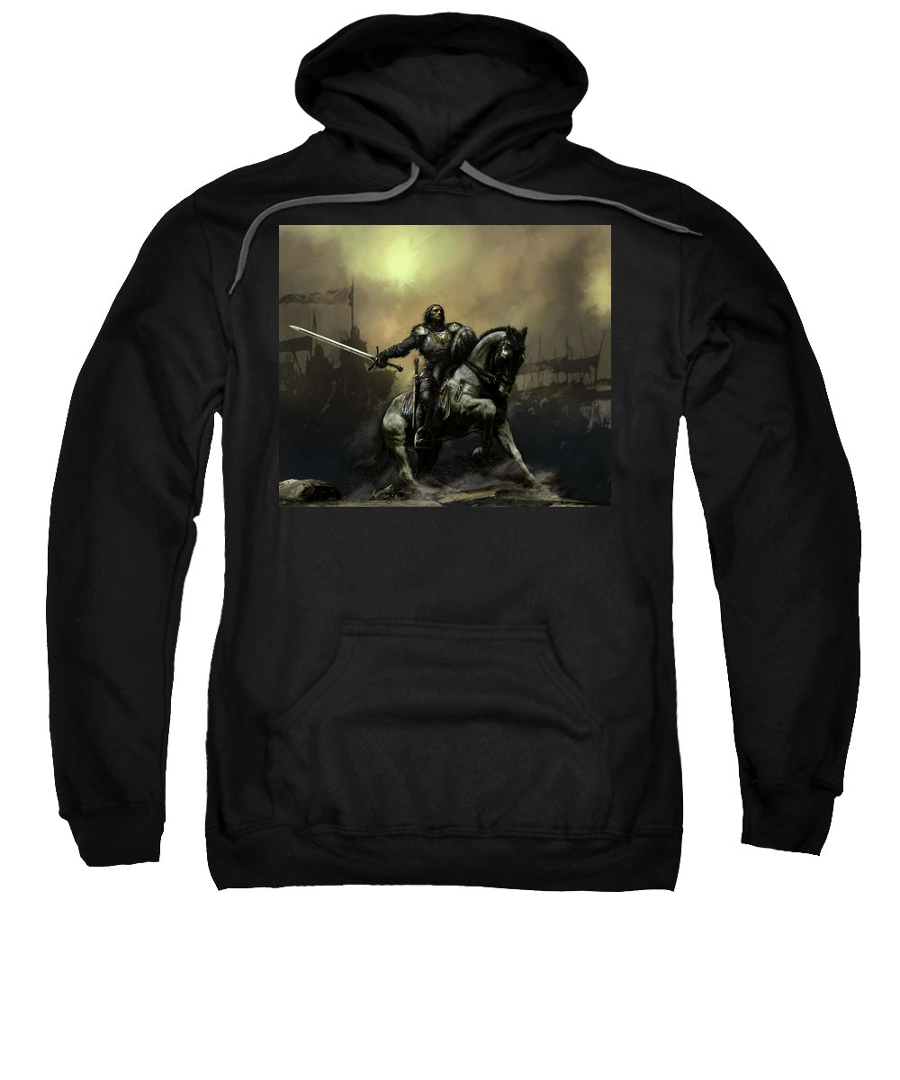 Fantasy Sweatshirt featuring the painting The Defiant by David Willicome