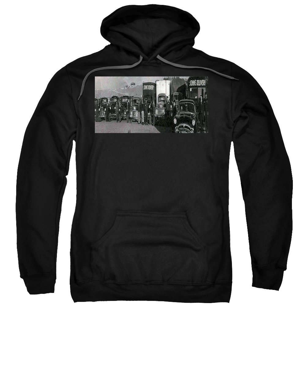 Old Photo Black And White Classic Saskatchewan Pioneers History Old Trucks Sweatshirt featuring the photograph The Delivery Company by Andrea Lawrence