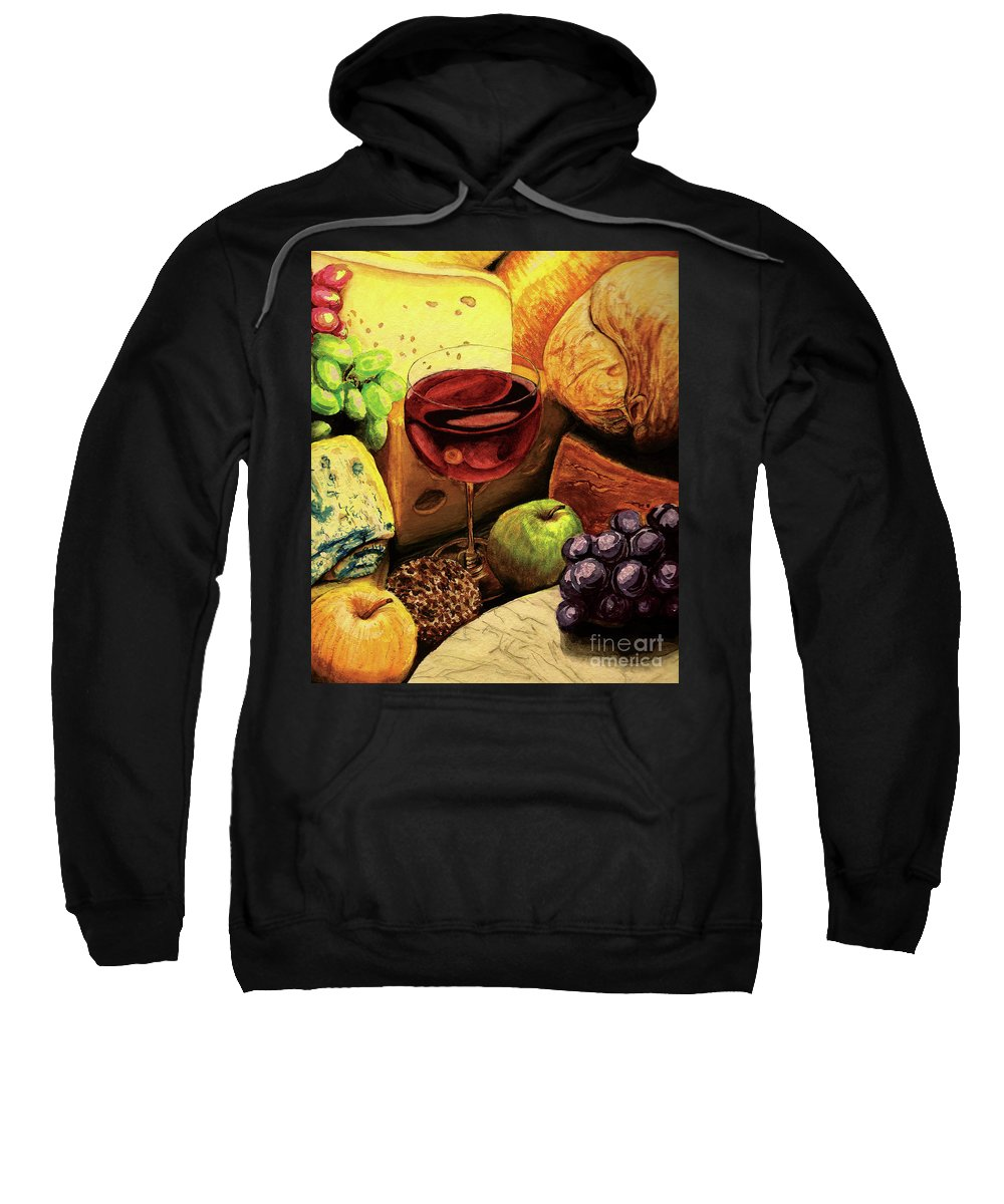 Divine Sweatshirt featuring the painting The Divine Meal by Lilith De' Anu