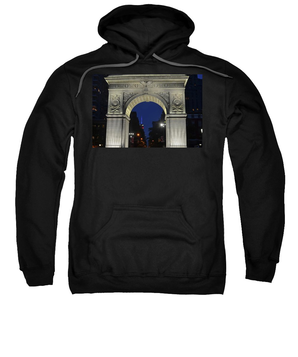 New Sweatshirt featuring the photograph The Empire State Building Through The Washington Square Arch by Toby McGuire