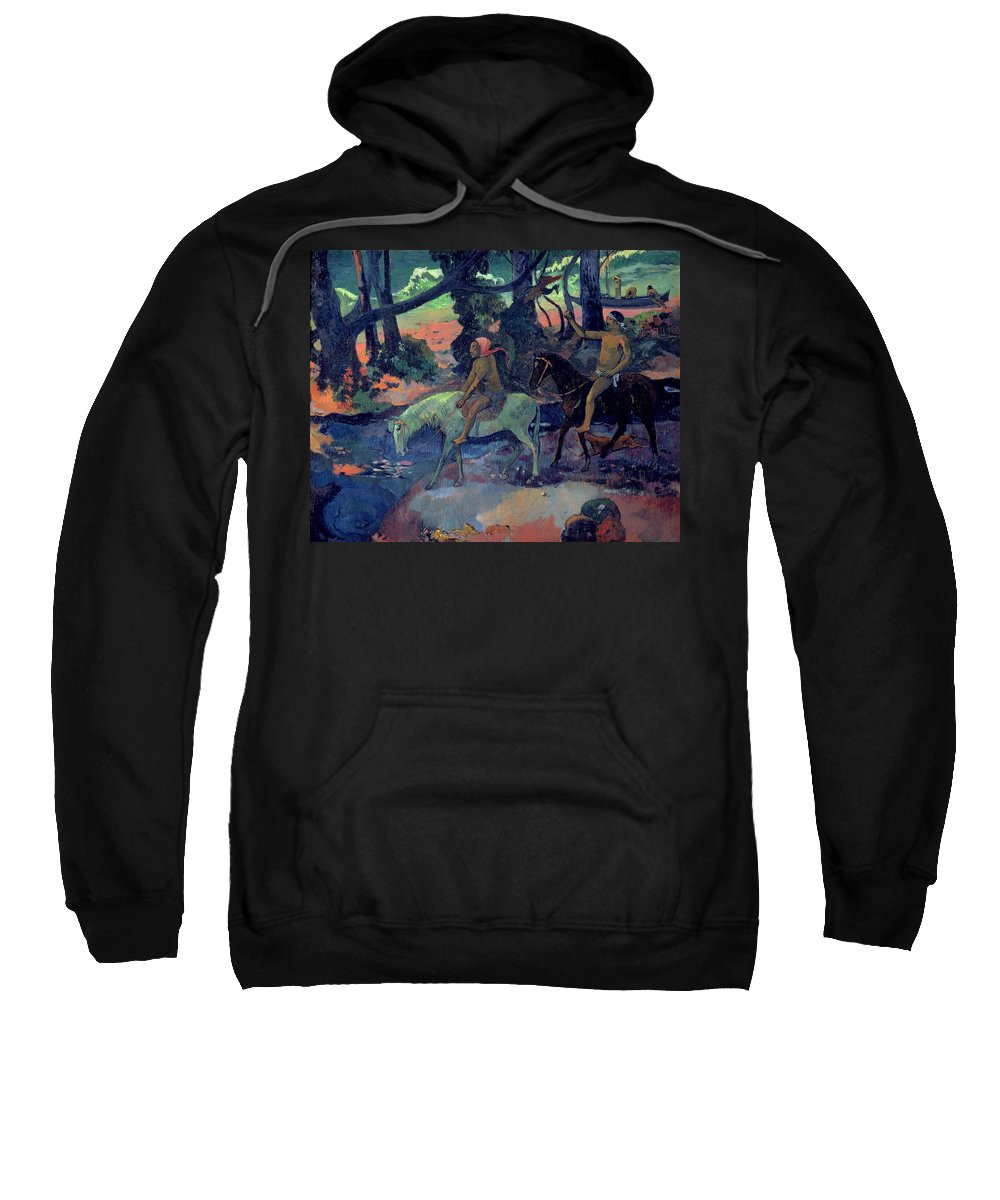 The Escape Sweatshirt featuring the painting The Escape by Paul Gauguin