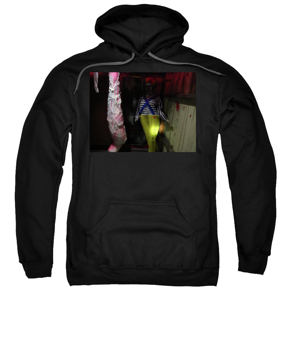 Clown Sweatshirt featuring the photograph The Evil And The Clown. by Larry Maynard