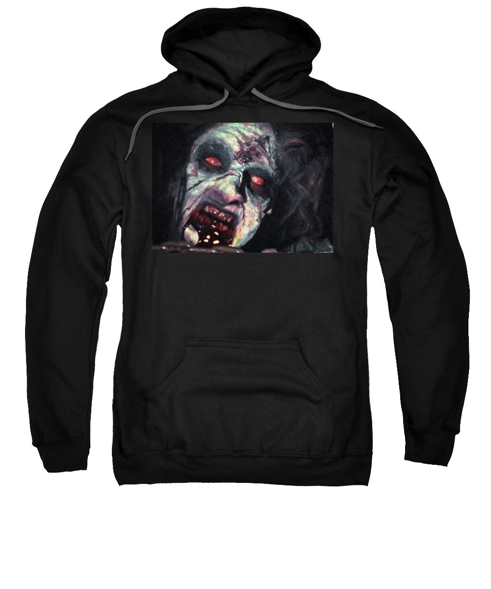 The Evil Dead Sweatshirt featuring the painting The Evil Dead by Zapista Zapista