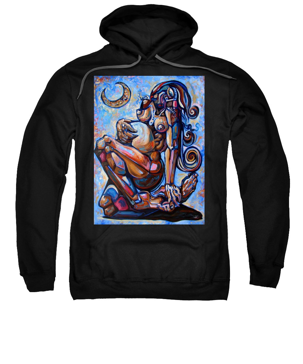 Surrealism Sweatshirt featuring the painting The Expecting Muse by Darwin Leon