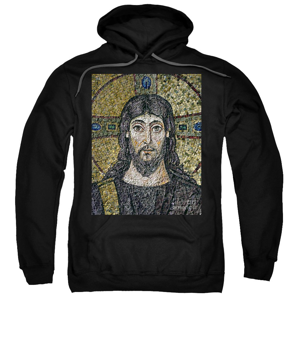 Christ Sweatshirt featuring the relief The Face Of Christ by Byzantine School