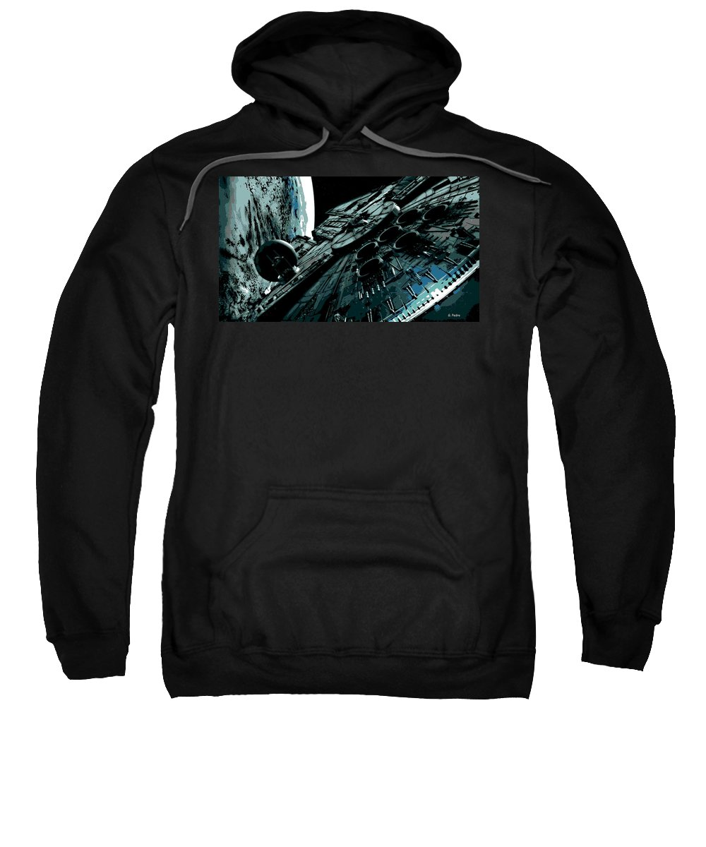 Millenium Falcon Sweatshirt featuring the painting the Falcon by George Pedro