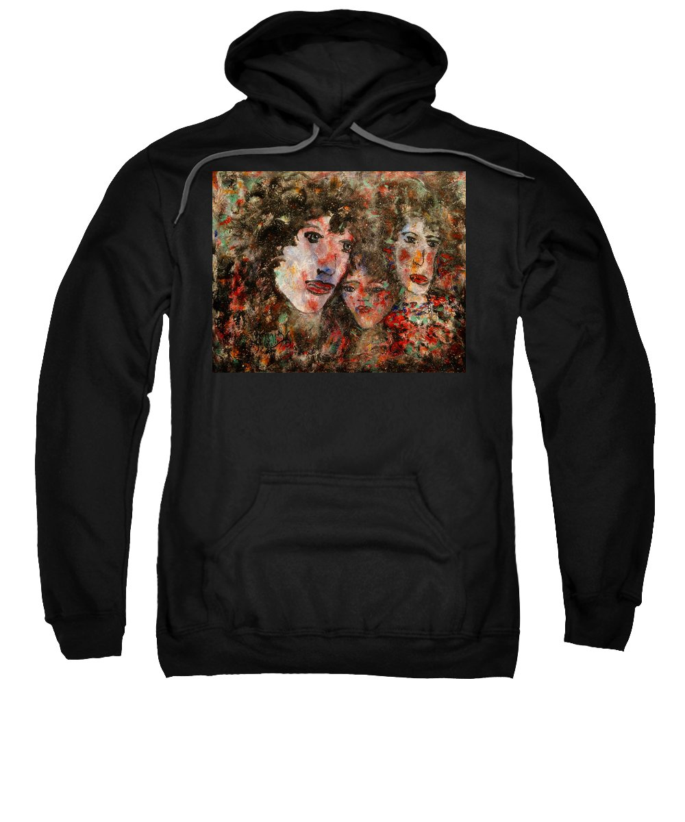 Family Sweatshirt featuring the painting The Family That Plays Together Stays Together by Natalie Holland