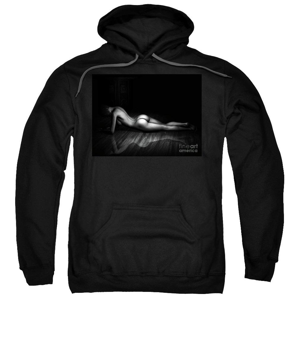 3d Sweatshirt featuring the digital art The Female Form Bw by Alexander Butler