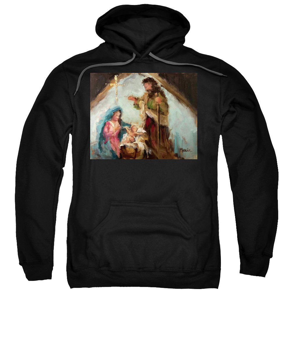 Nativity Sweatshirt featuring the painting The First Christmas by Marcia Hodges