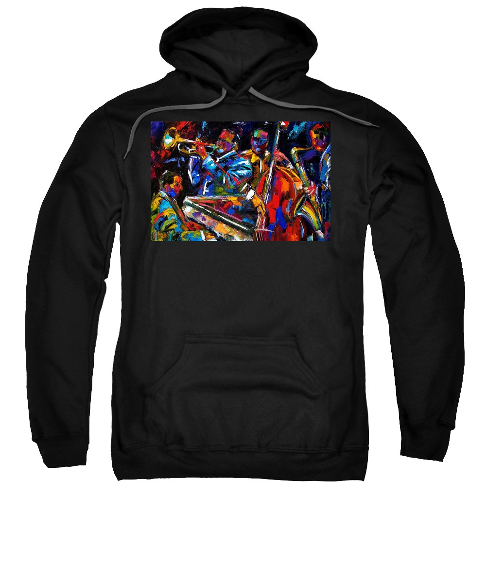 Jazz Sweatshirt featuring the painting The First Set by Debra Hurd