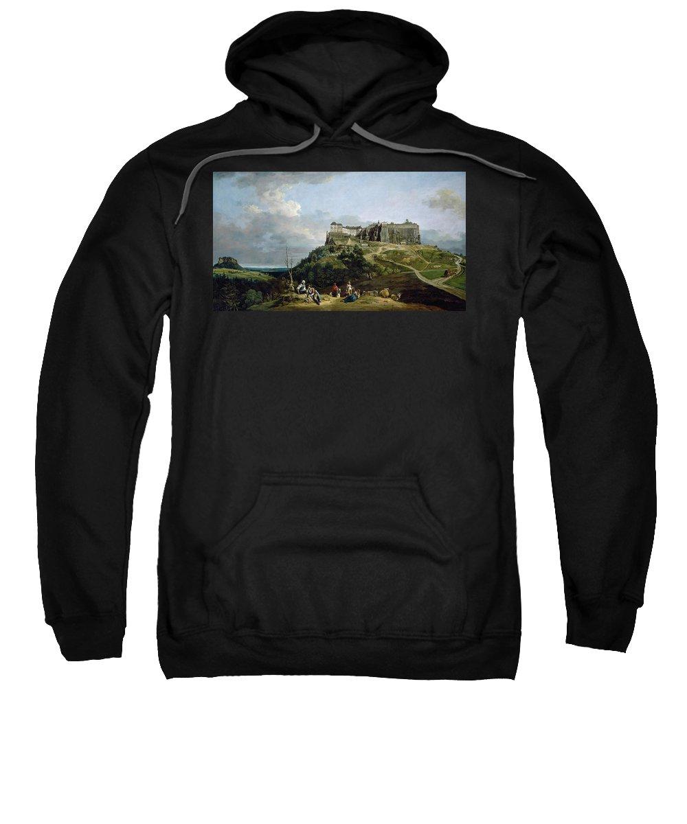 Bernardo Bellotto Sweatshirt featuring the painting The Fortress Of Konigstein by Bernardo Bellotto