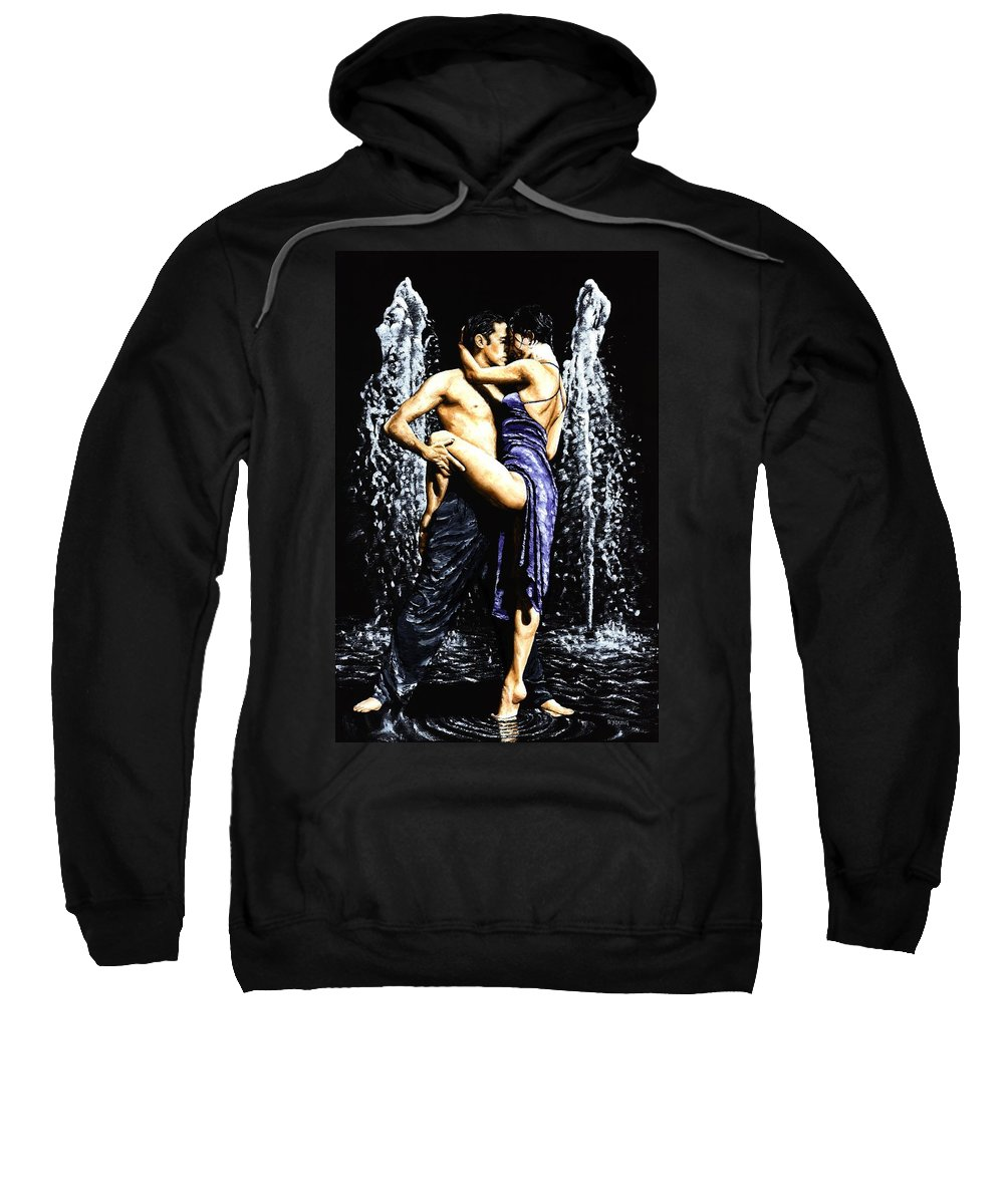 Tango Sweatshirt featuring the painting The Fountain Of Tango by Richard Young