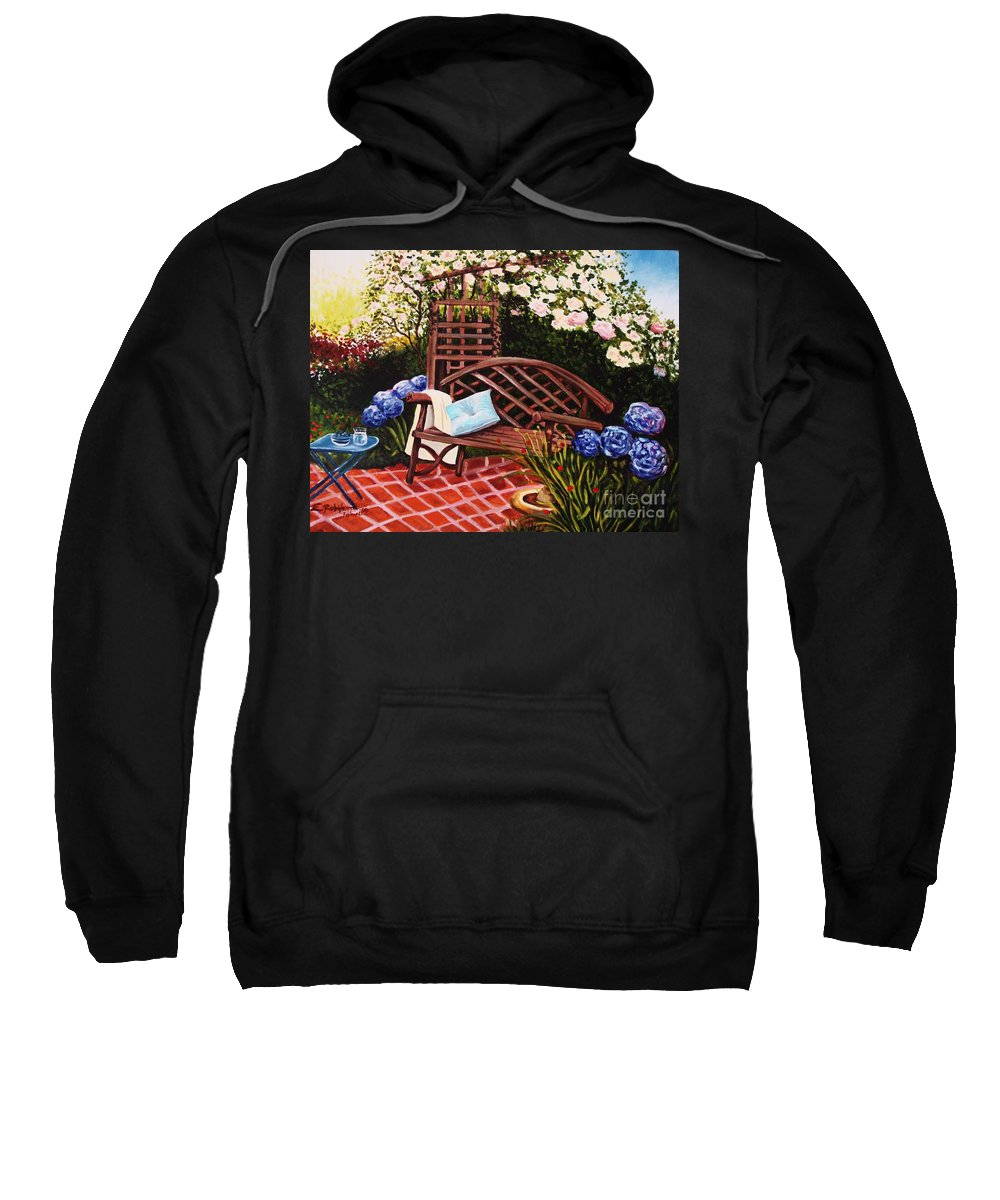 Landscape Sweatshirt featuring the painting The Garden by Elizabeth Robinette Tyndall