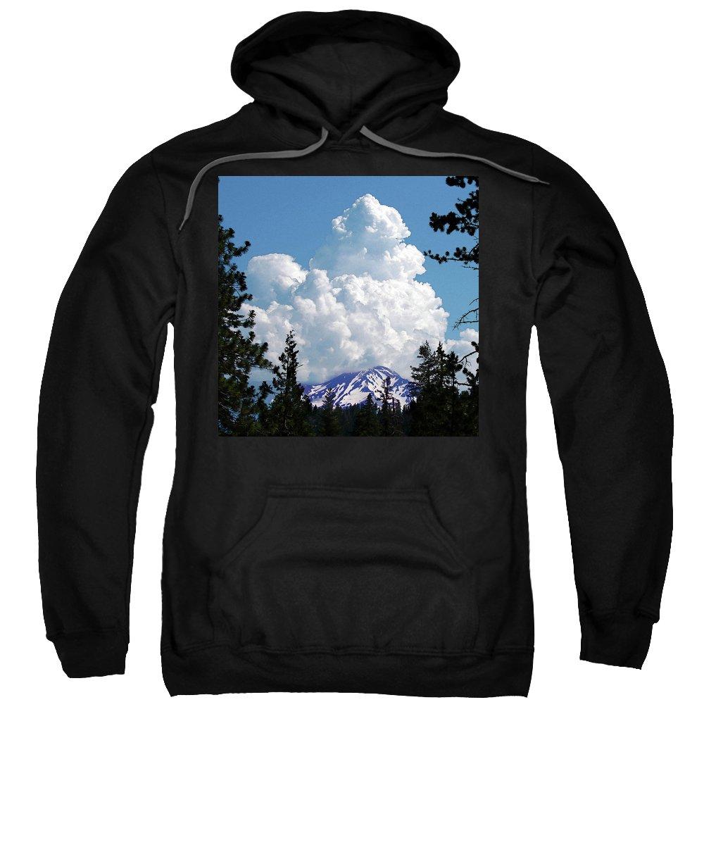 Mountain Sweatshirt featuring the digital art The Gathering by Vicki Lea Eggen