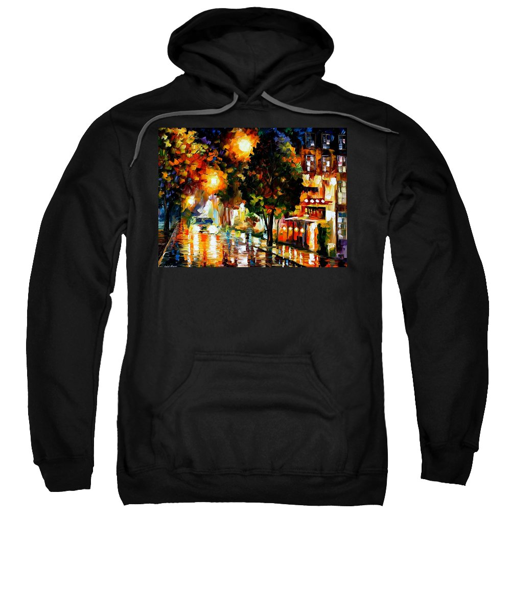 Afremov Sweatshirt featuring the painting The Glowing Night by Leonid Afremov
