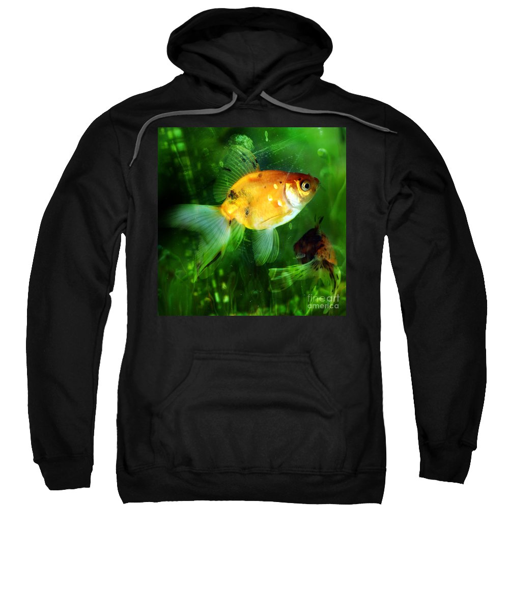 Fish Sweatshirt featuring the photograph The Goldfish by Angel Ciesniarska