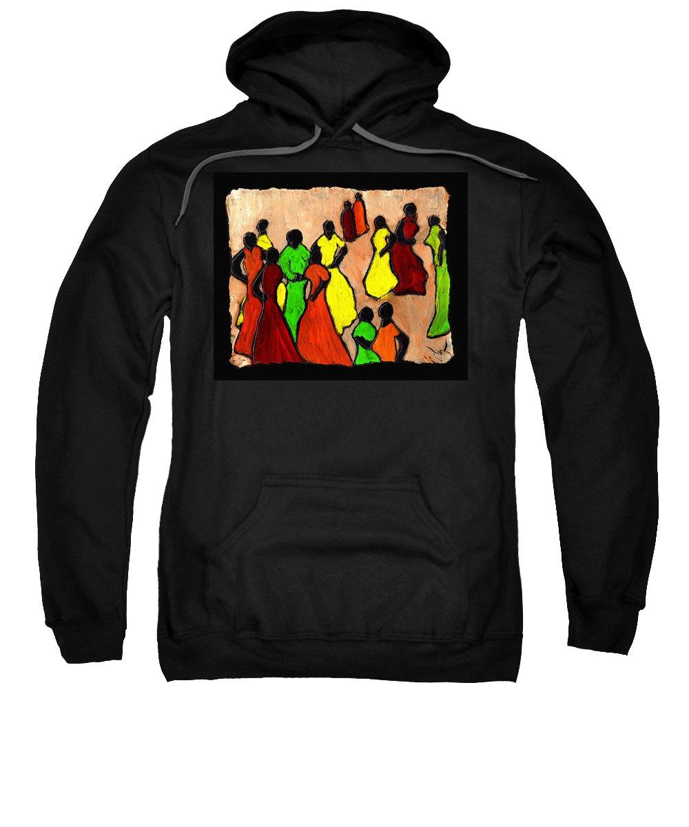 Women Sweatshirt featuring the painting The Gossips by Wayne Potrafka
