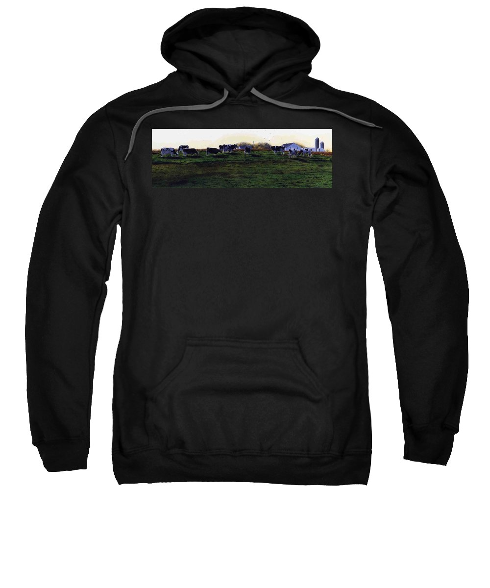 Cows Sweatshirt featuring the painting The Grass Is Greener by Denny Bond