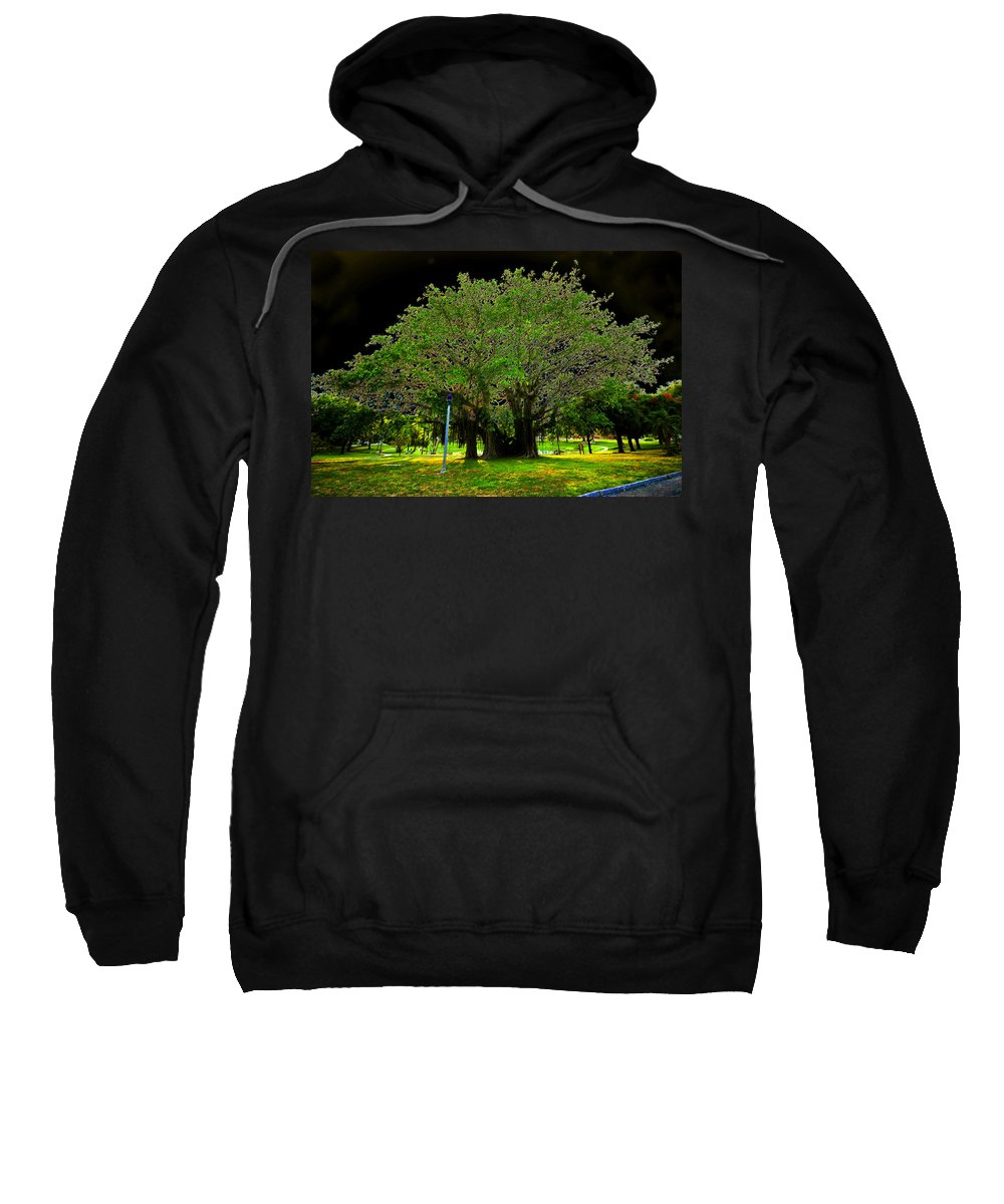 Art Sweatshirt featuring the painting The Great Banyan by David Lee Thompson