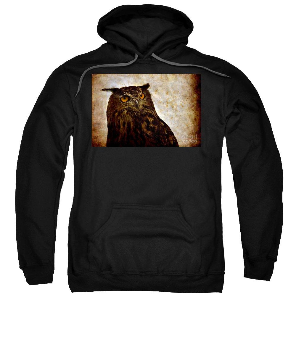 Great Owl Sweatshirt featuring the photograph The Great Owl by Angel Ciesniarska