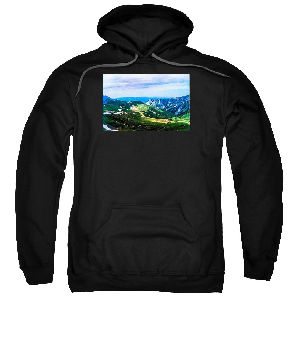Mountains Sweatshirt featuring the photograph The High Road by Tom Zukauskas