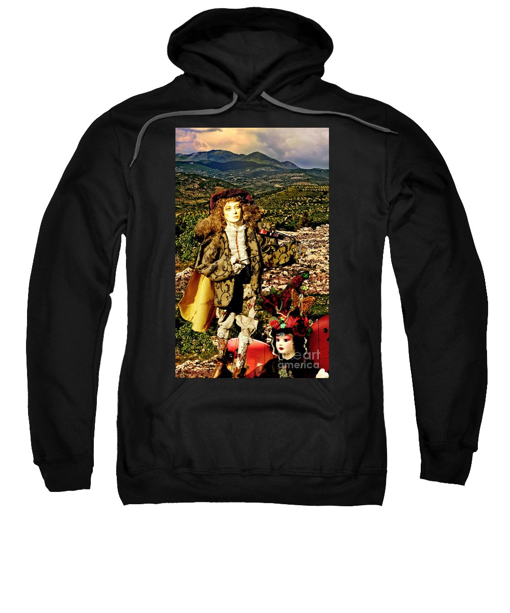 Santorini Sweatshirt featuring the photograph The Hills Are Alive In Santorini by Madeline Ellis