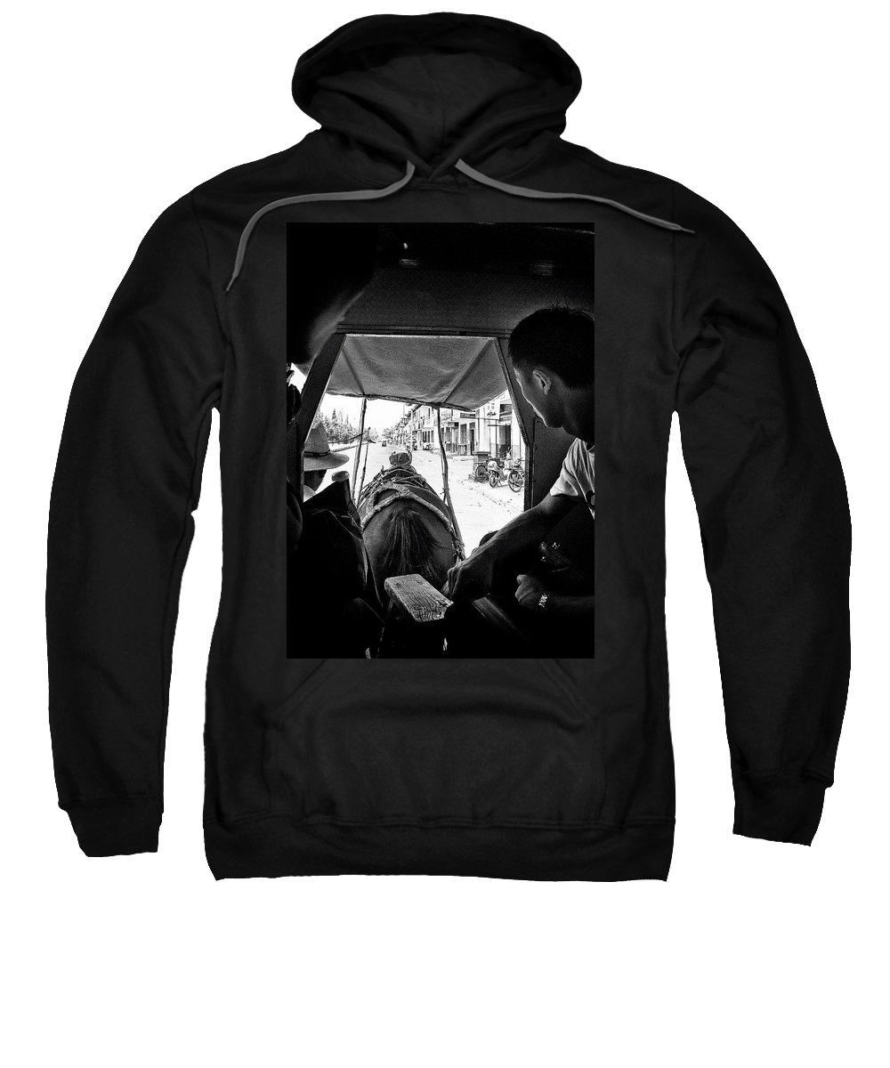 China; Horse Sweatshirt featuring the photograph Horse And Carriage by Patrick Kain