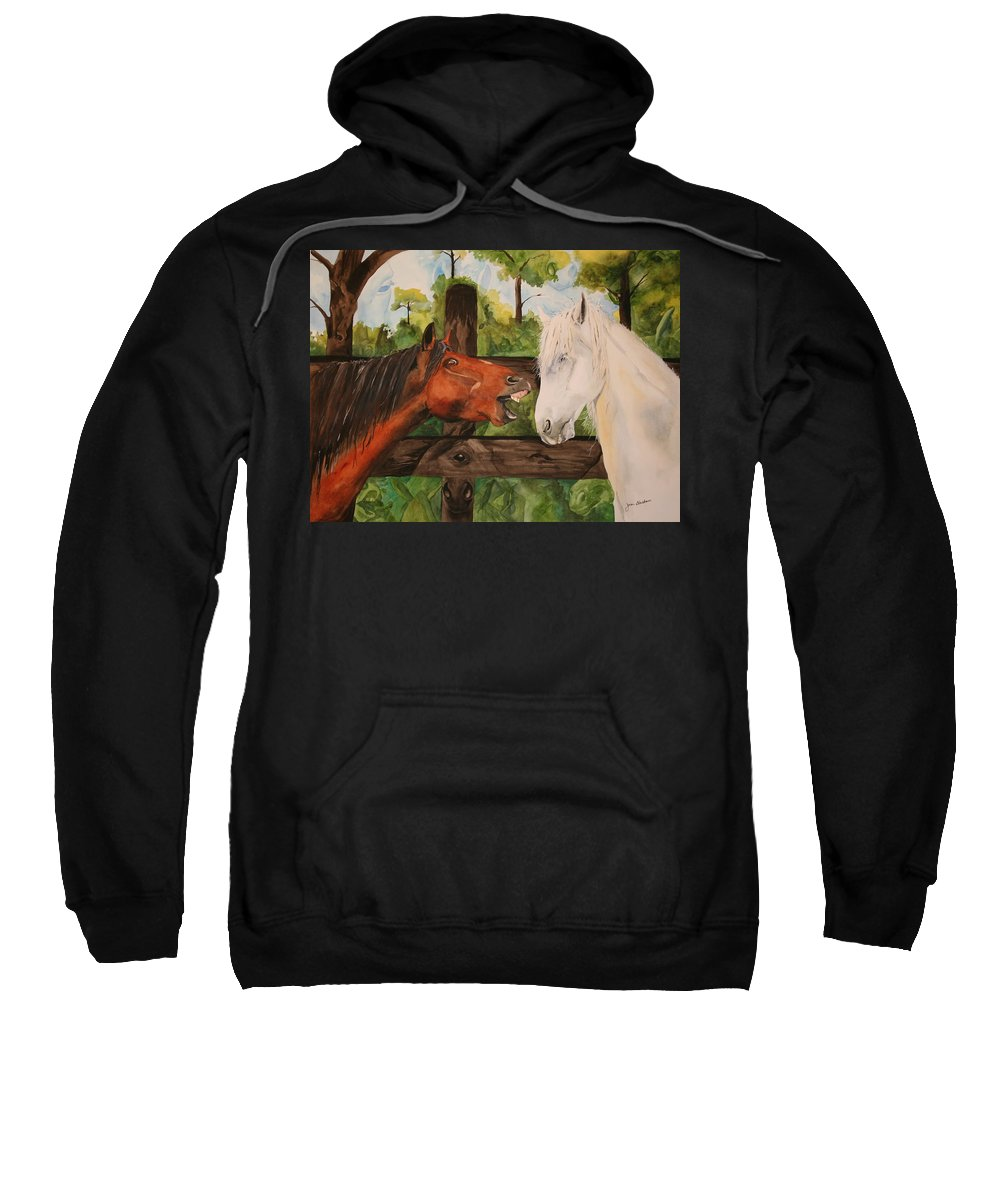 Horse Sweatshirt featuring the painting The Horse Whisperers by Jean Blackmer