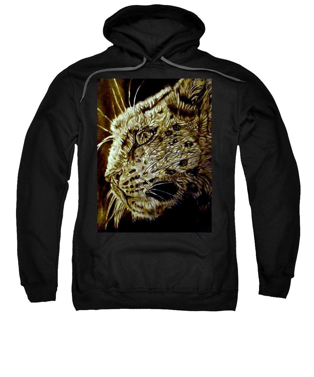 Snow Leopard Sweatshirt featuring the drawing The Hunt by Herbert Renard