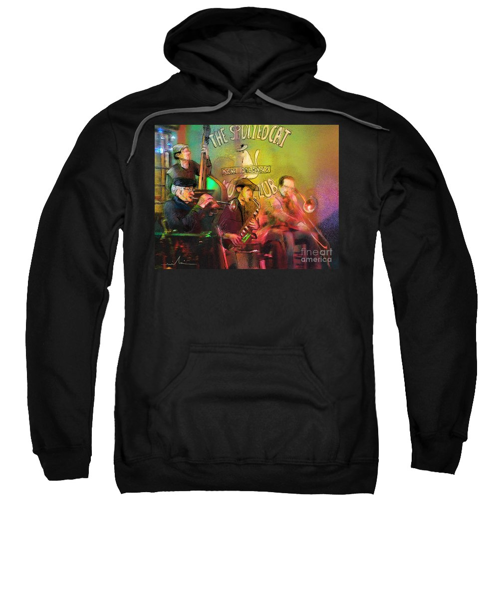Jazz Sweatshirt featuring the painting The Jazz Vipers In New Orleans 02 by Miki De Goodaboom