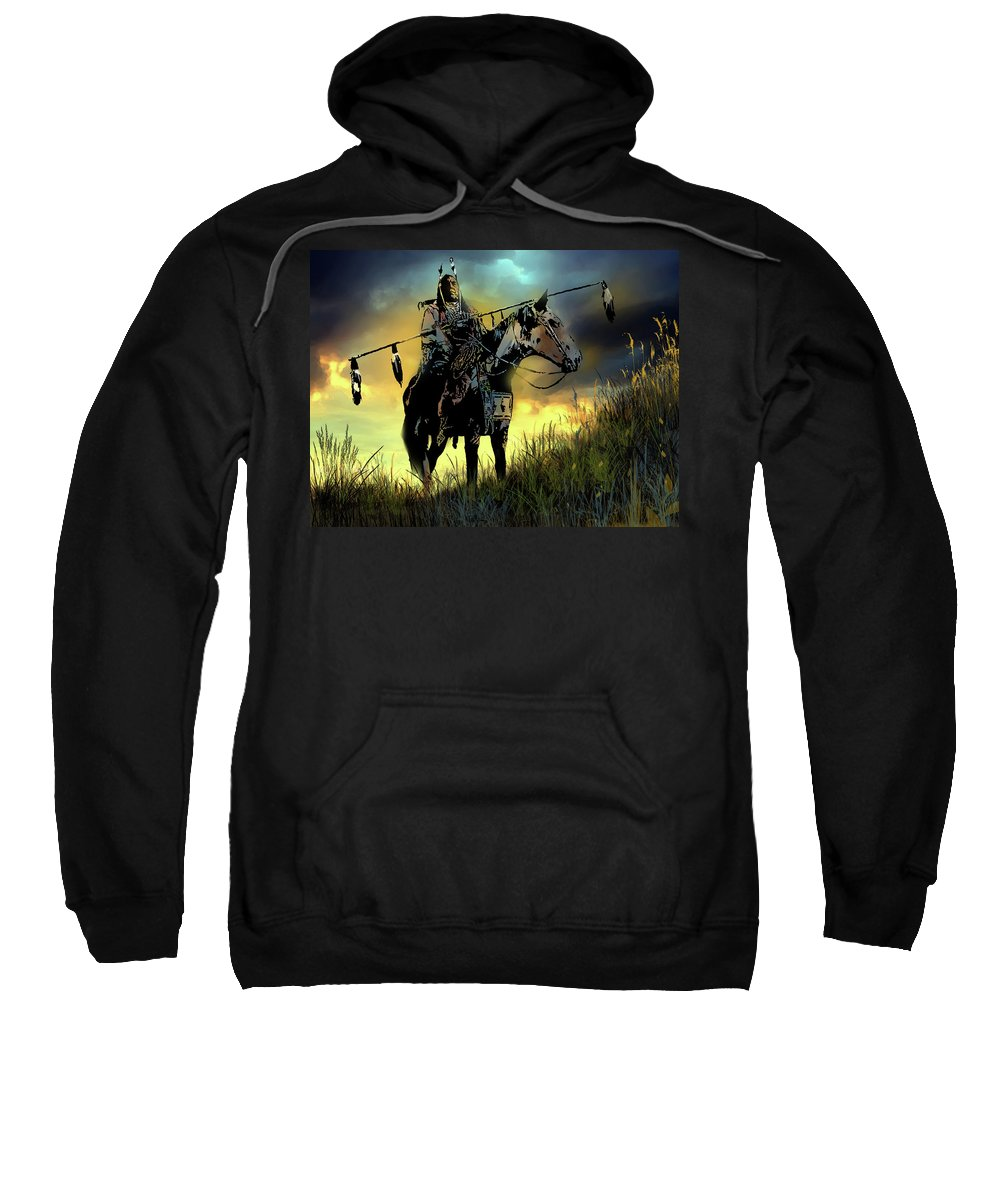 Native Americans Sweatshirt featuring the painting The Last Ride by Paul Sachtleben