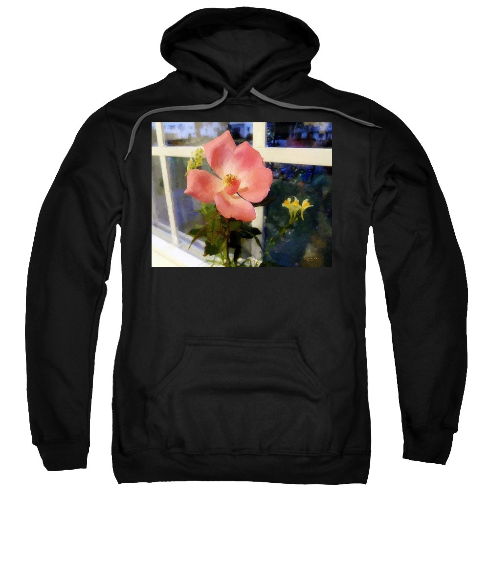 Rose Sweatshirt featuring the painting The Last Rose Of Summer by RC DeWinter