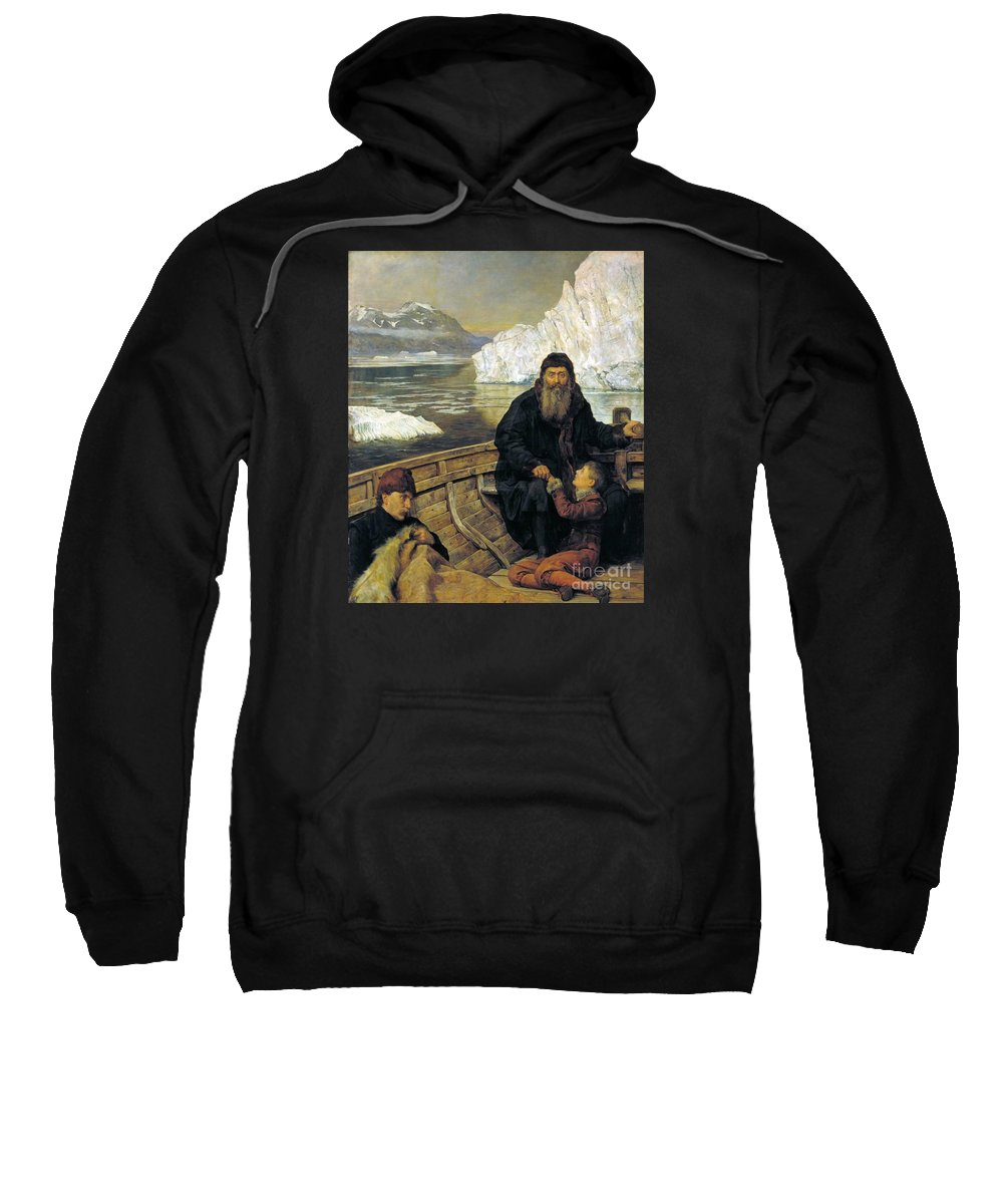 The Hon. John Collier - The Last Voyage Of Henry Hudson Sweatshirt featuring the painting The Last Voyage Of Henry Hudson by MotionAge Designs