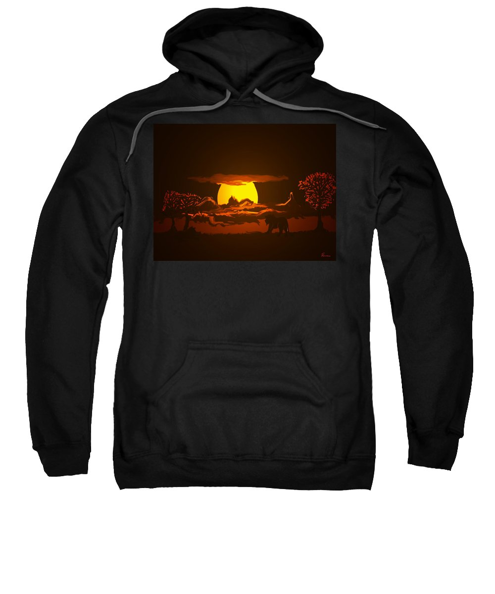 Lion Lions Desert Water Sunset Wild Animals Trees Sweatshirt featuring the digital art The Last Water Hole by Andrea Lawrence