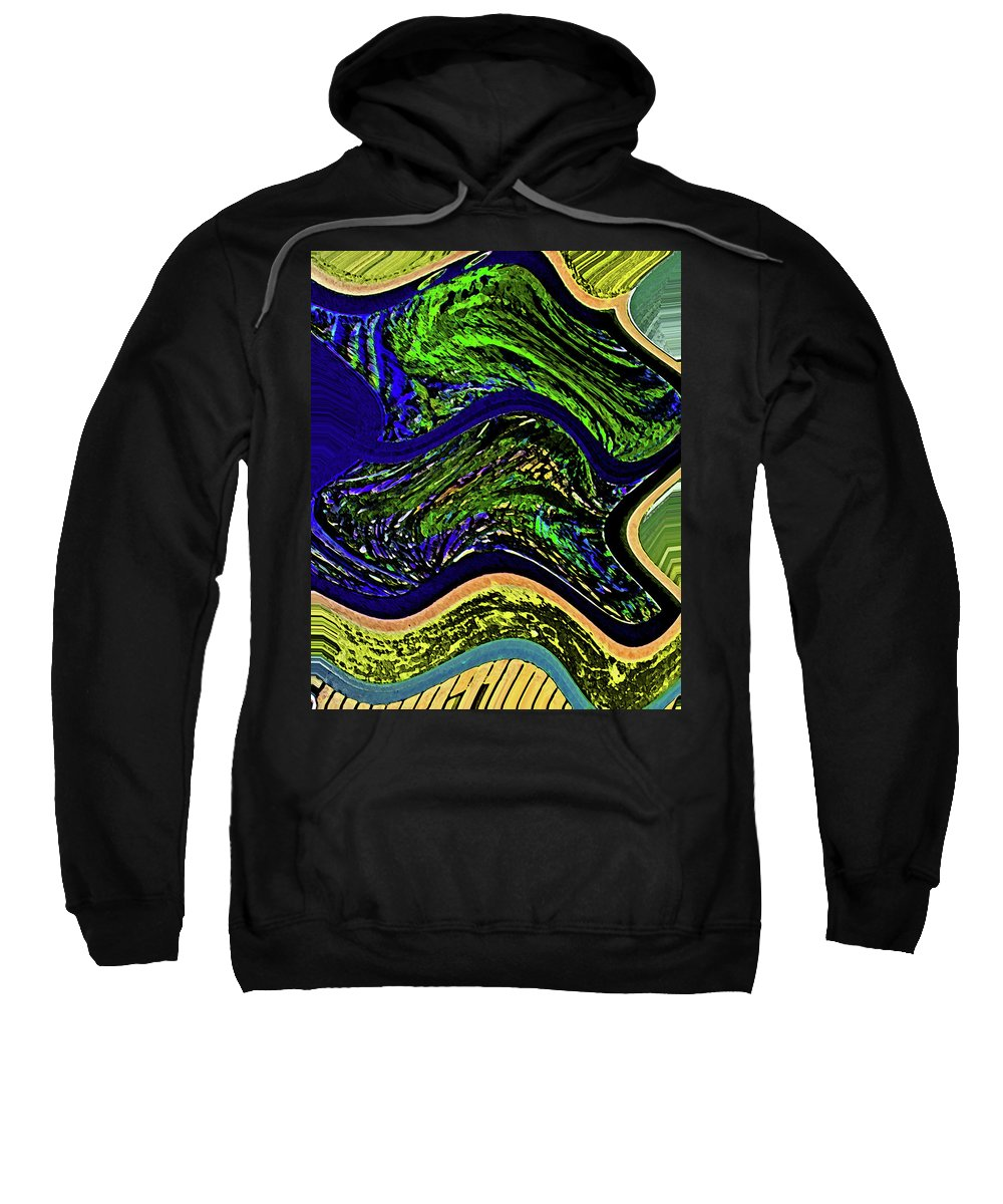 Abstract Sweatshirt featuring the digital art The Lay Of The Land by Lenore Senior