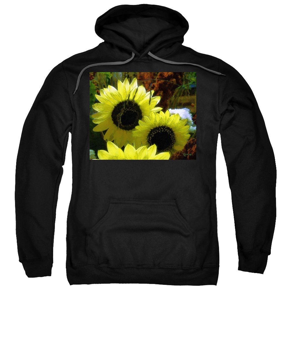 Sunflowers Sweatshirt featuring the digital art The Lemon Sisters by RC deWinter